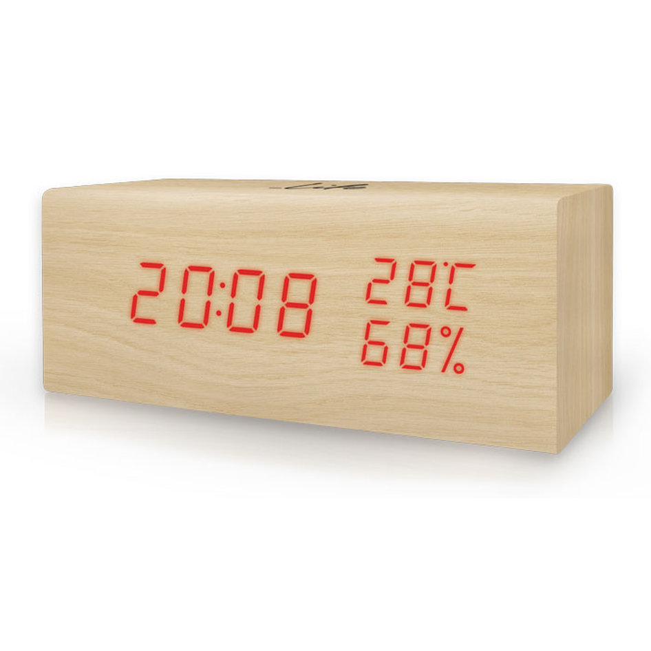 LIFE Wood Block (WES-106) Thermometer/hygrometer with clock and alarm(natural re