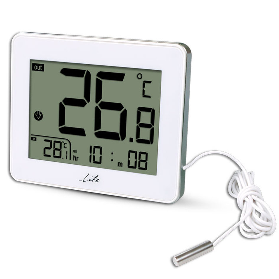 LIFE CORDY Indoor/outdoor thermometer,White