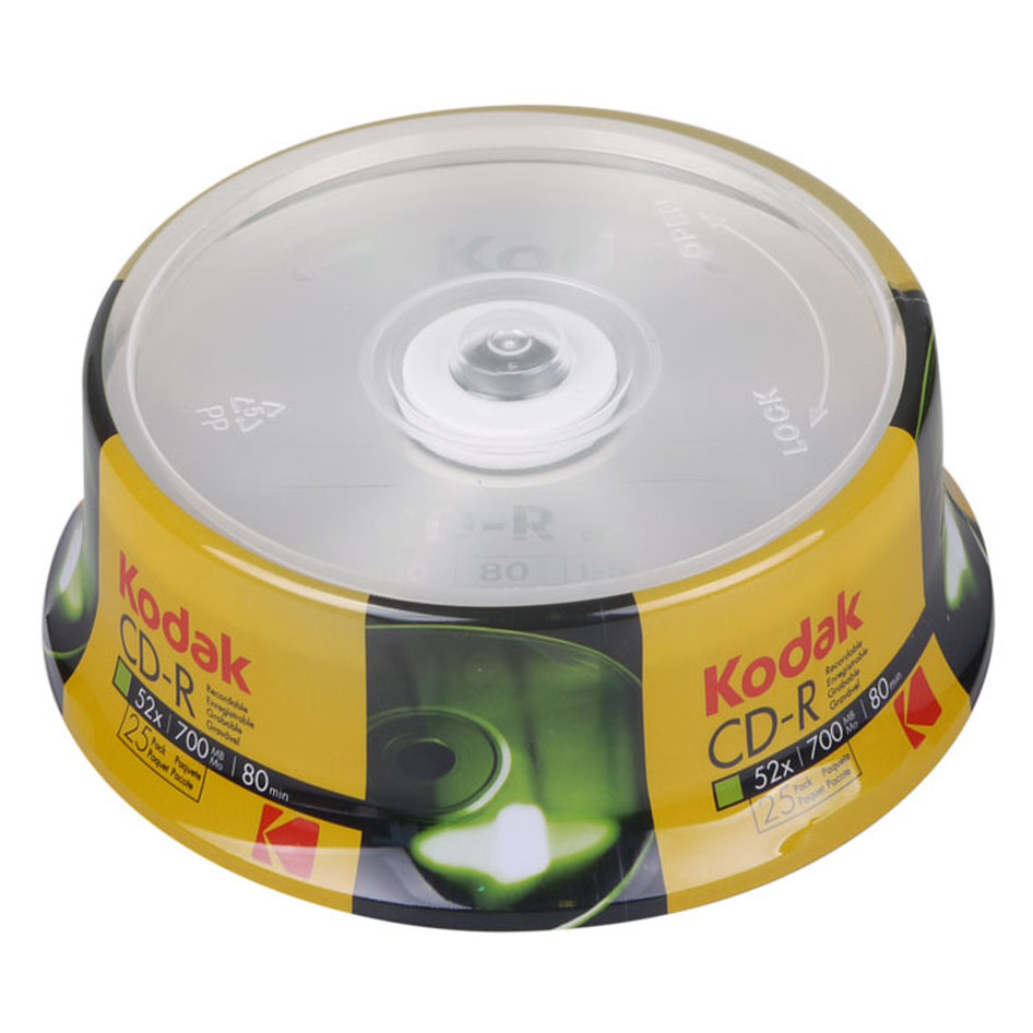 KODAK CD-R 52x 700MB, 25-pack cakebox