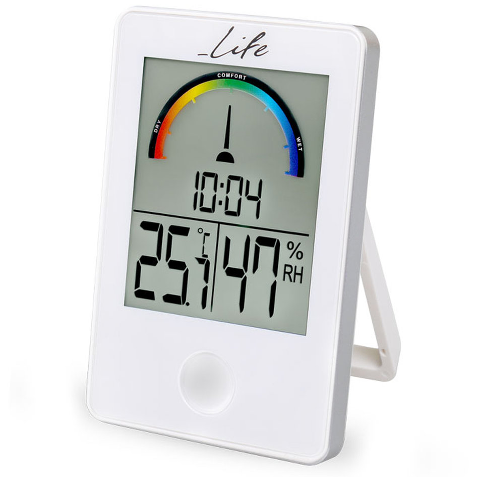 LIFE iTEMP White  Thermometer/hygrometer with clock WES-101