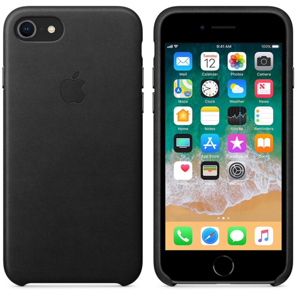 Apple Leather Case iPhone 8-7 Black