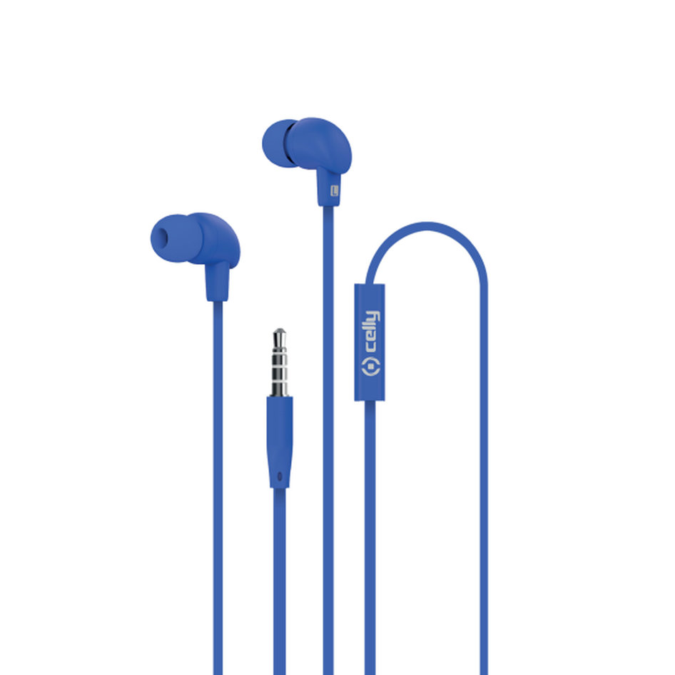 Celly Up Stereo Earphone 3.5mm Flat Cable Blue