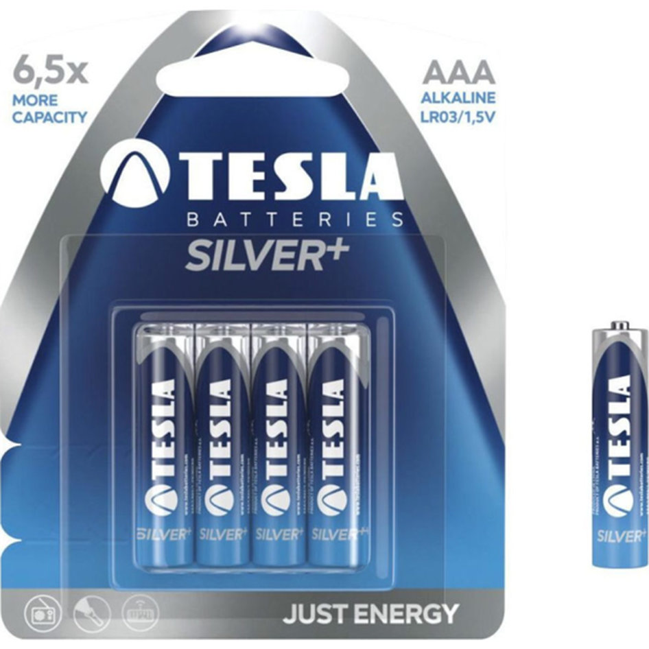 Tesla Alcaline Battery AAA Silver Pack 4pieces
