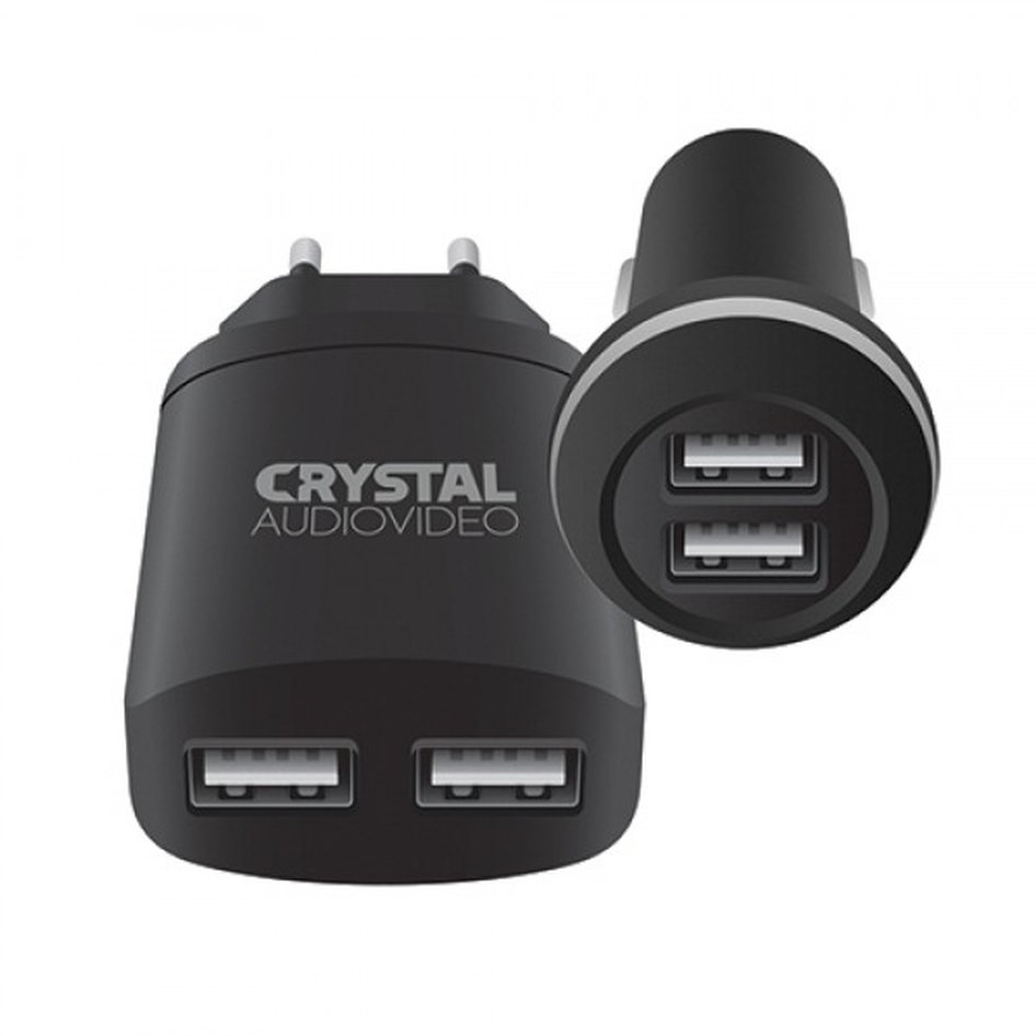 CRYSTAL AUDIO CP2-2.4 Charger\'s kit - 5V / 2.4A USB Car + 5V / 2A USB Wall