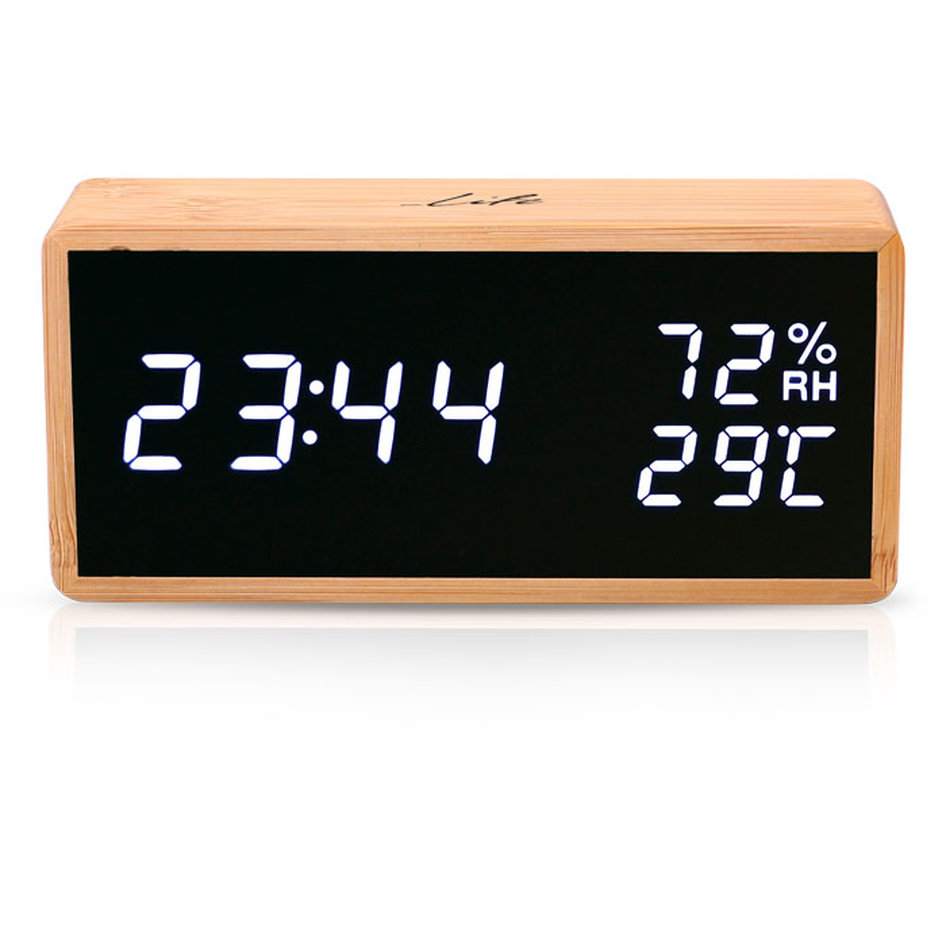 LIFE Noble Bamboo Thermometer/hygrometer with clock and alarm,LED digits