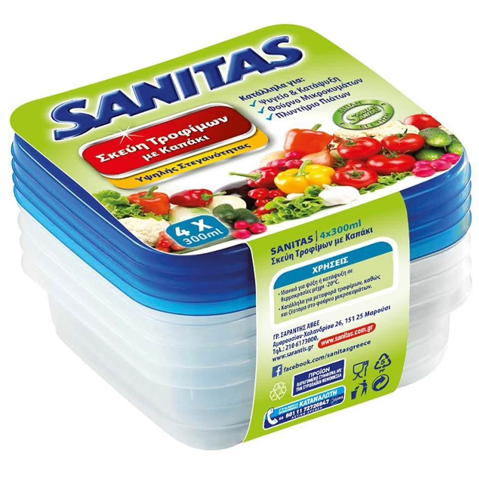 SANITAS PLASTIC WARE SQUARE 4X300ML L13