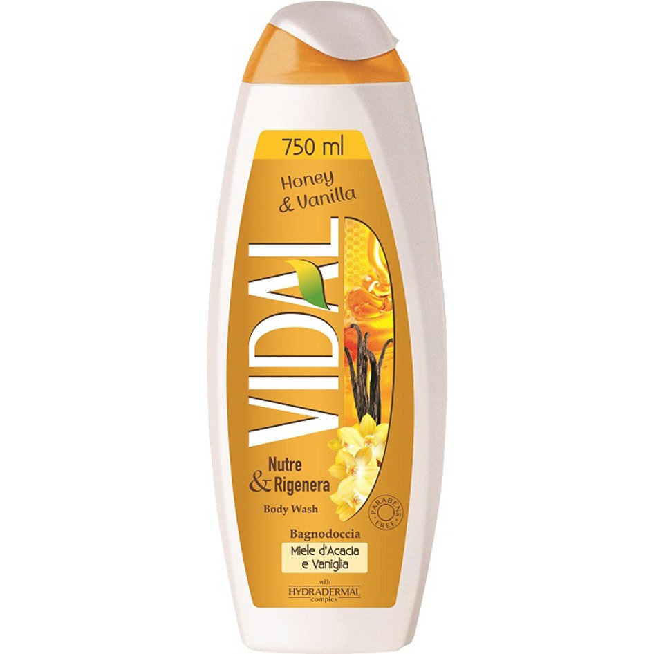 VIDAL BODY WASH HONEY & vANILLA750ML