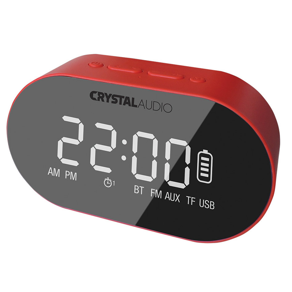 CRYSTAL AUDIO BTC1R BT SPEAKER ALARM CLOCK RADIO ΚΟΚΚΙΝΟ