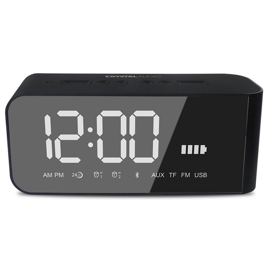 CRYSTAL AUDIO BTC2K BT SPEAKER ALARM CLOCK RADIO ΜΑΥΡΟ