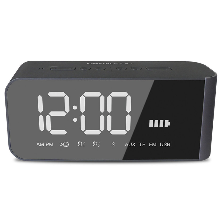 CRYSTAL AUDIO BTC2G BT SPEAKER ALARM CLOCK RADIO ΓΚΡΙ