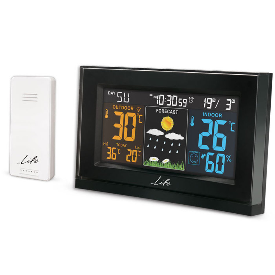 LIFE Tundra Curved Weather station with adaptor & wireless outdoor sensor,clock&