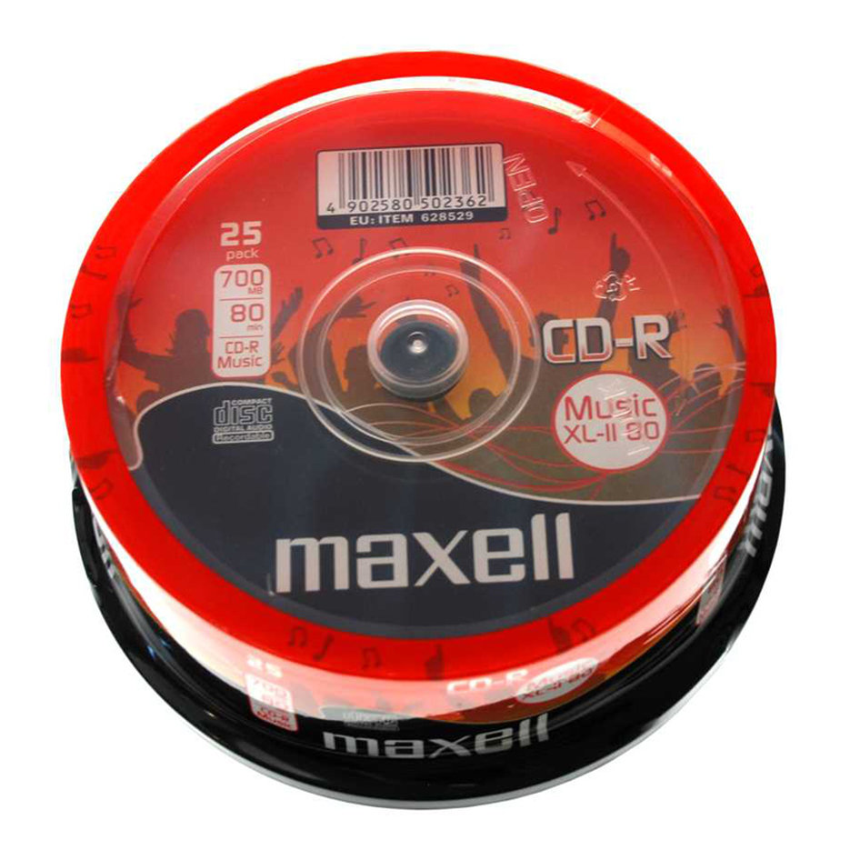 MAXELL CD-R music XL-II 80min, 700MB, 16x, 25τμχ Cake box