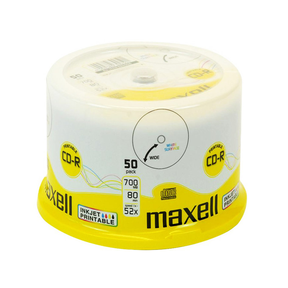 MAXELL CD-R 80min 700mb 52x 50spindle pack Printable FF