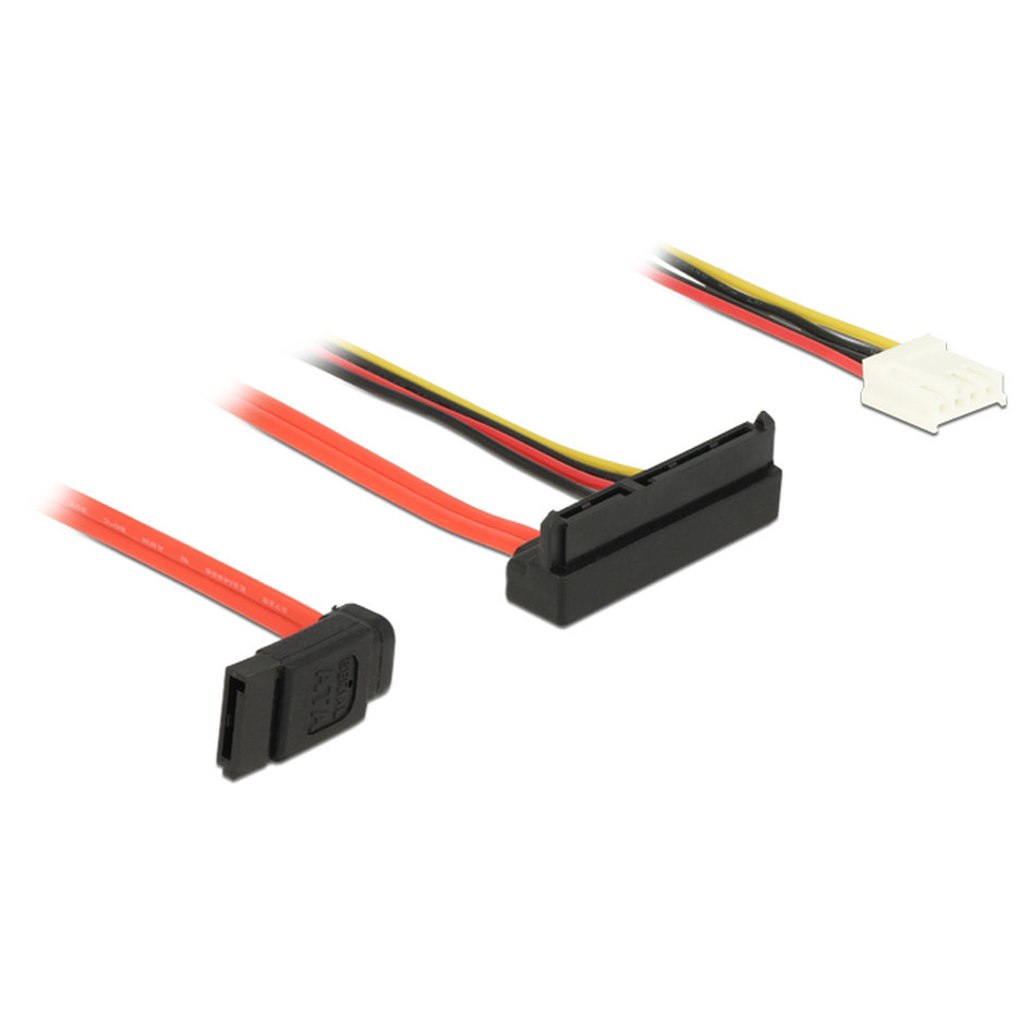 DELOCK Cable SATA 6Gb/s 7pin + 4pin σε SATA 22pin, 5V-12V, γωνιακό 30cm
