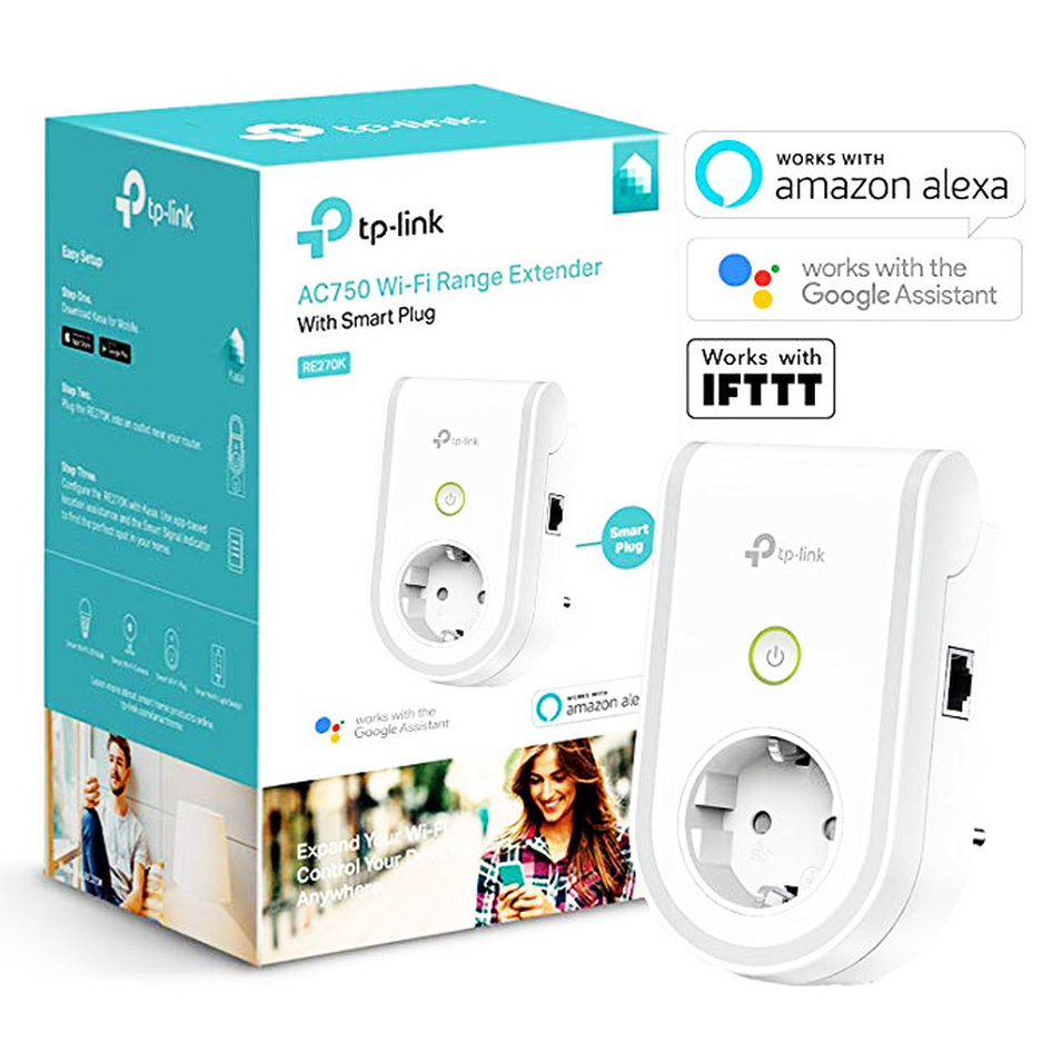 TP-LINK AC750 Wi-Fi Range Extender with Smart Plug RE270K, Ver. 1.0