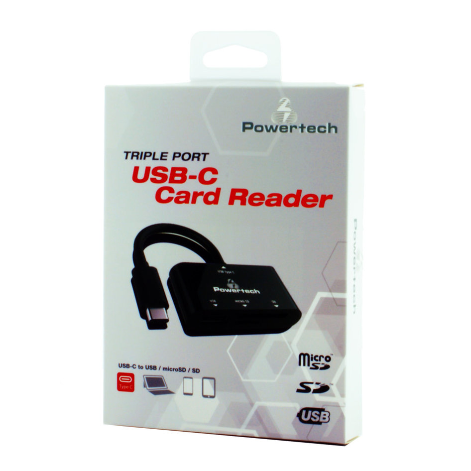 PT Card Reader USB Type-C, SD, Micro SD, USB, Black