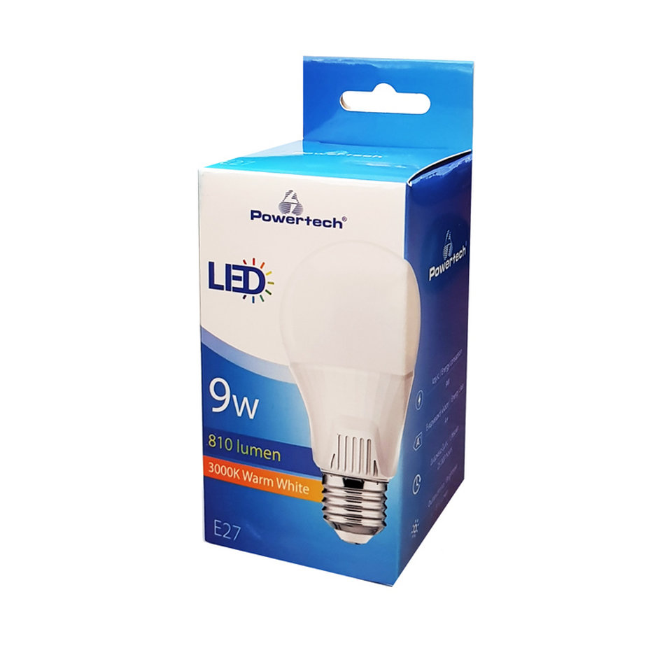 POWERTECH LED Λάμπα Bulb 9W, Warm White 3000K, E27, Samsung LED, IC