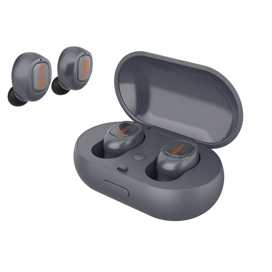 YISON bluetooth headset TWS-T1-GR, true wireless, με θήκη φόρτισης, γκρι