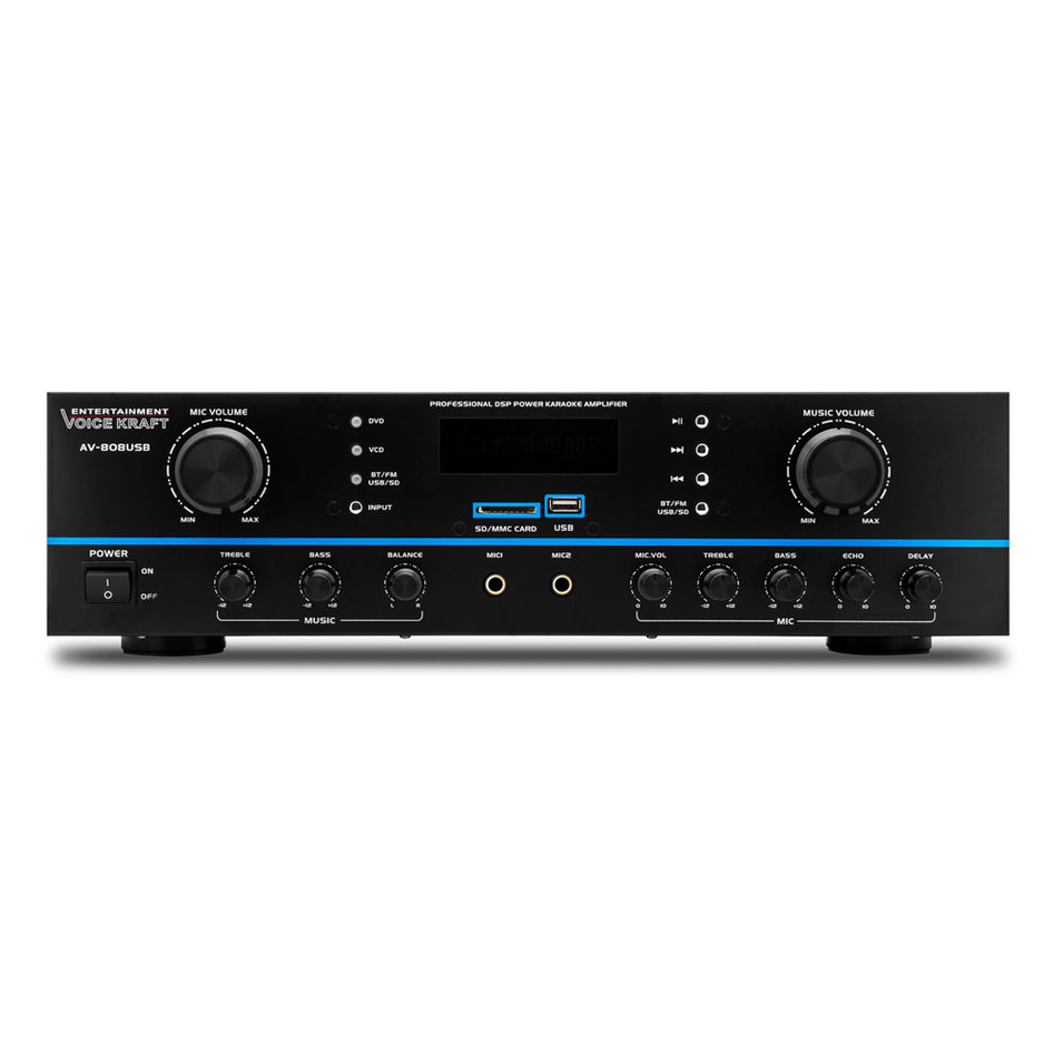 VOICE KRAFT ενισχυτής ηχείου AV-808USB, 200W RMS, bluetooth/USB/SD/FM