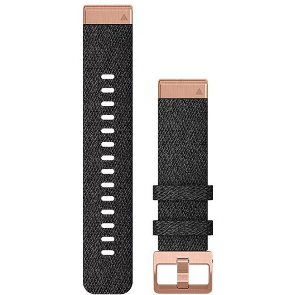 GARMIN QuickFit 20 Heathered Black Nylon with Rose Gold Hardware Replacement Strap