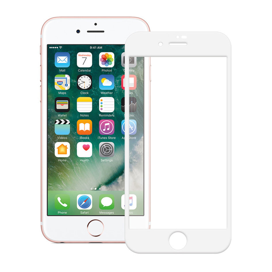 POWERTECH Tempered glass Gold series, full glue, iPhone 6/7/8, λευκό