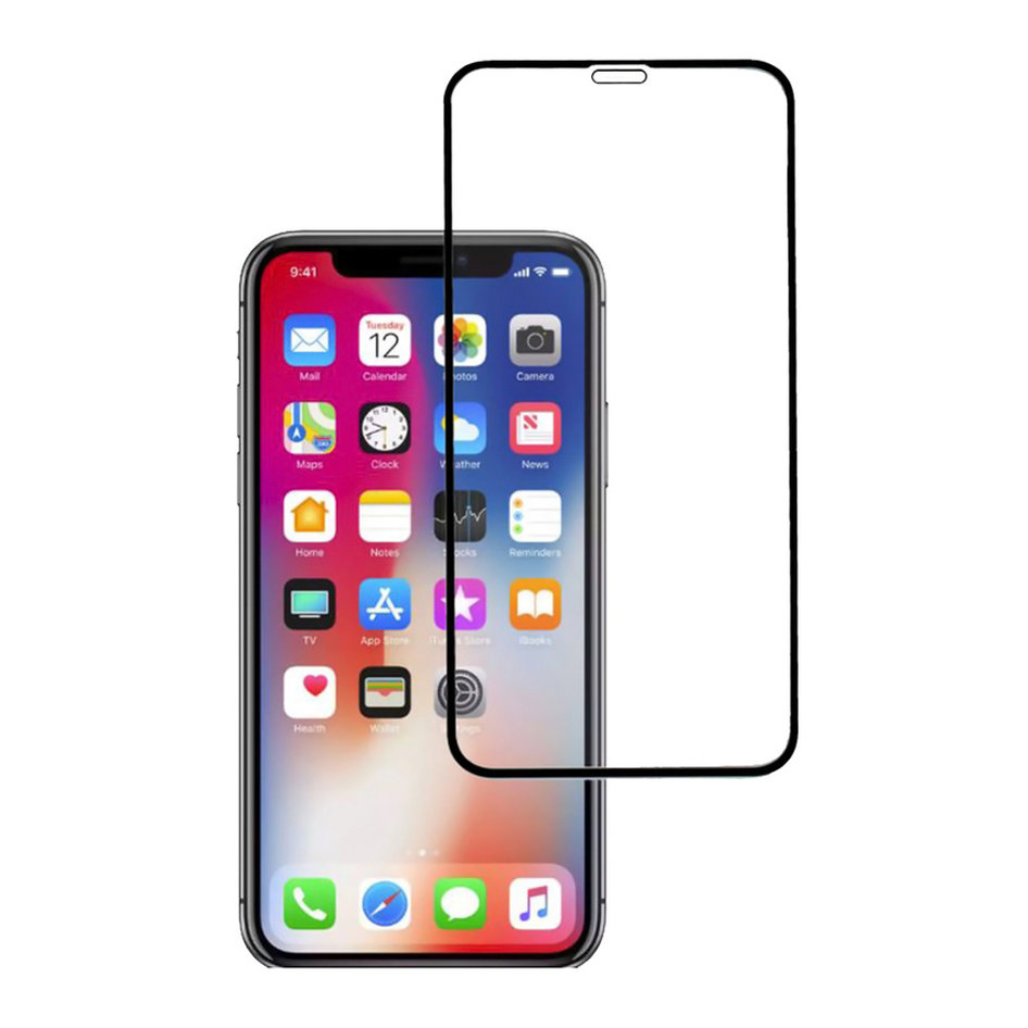 POWERTECH Tempered glass Gold series, full glue, iPhone 11, μαύρο