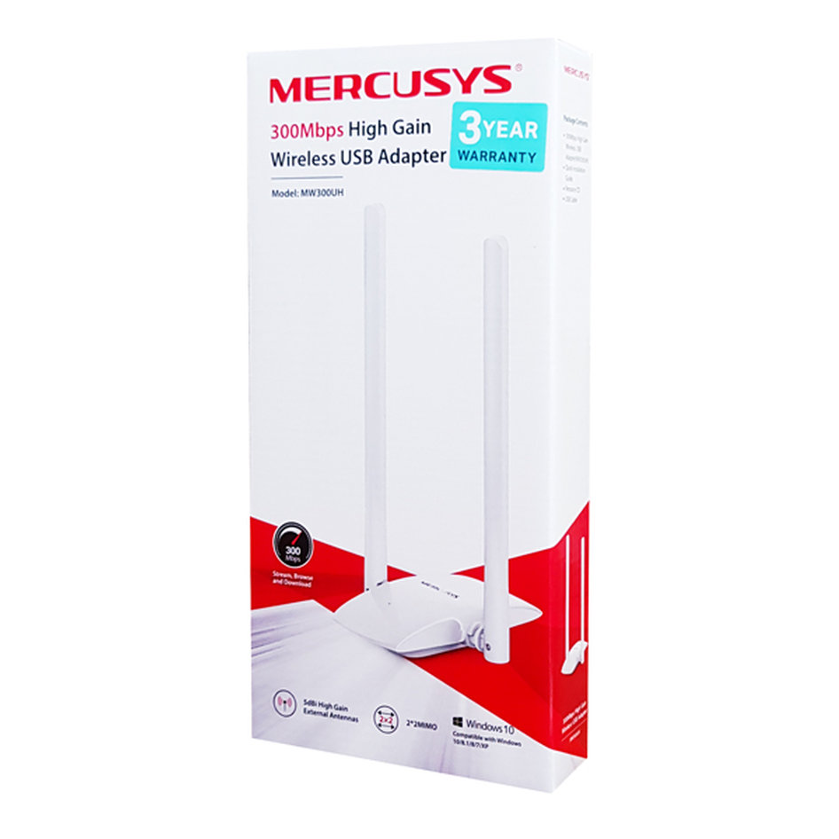 MERCUSYS Wireless USB Adapter MW300UH, 300Mbps, 2x2 MIMO, Ver. 1