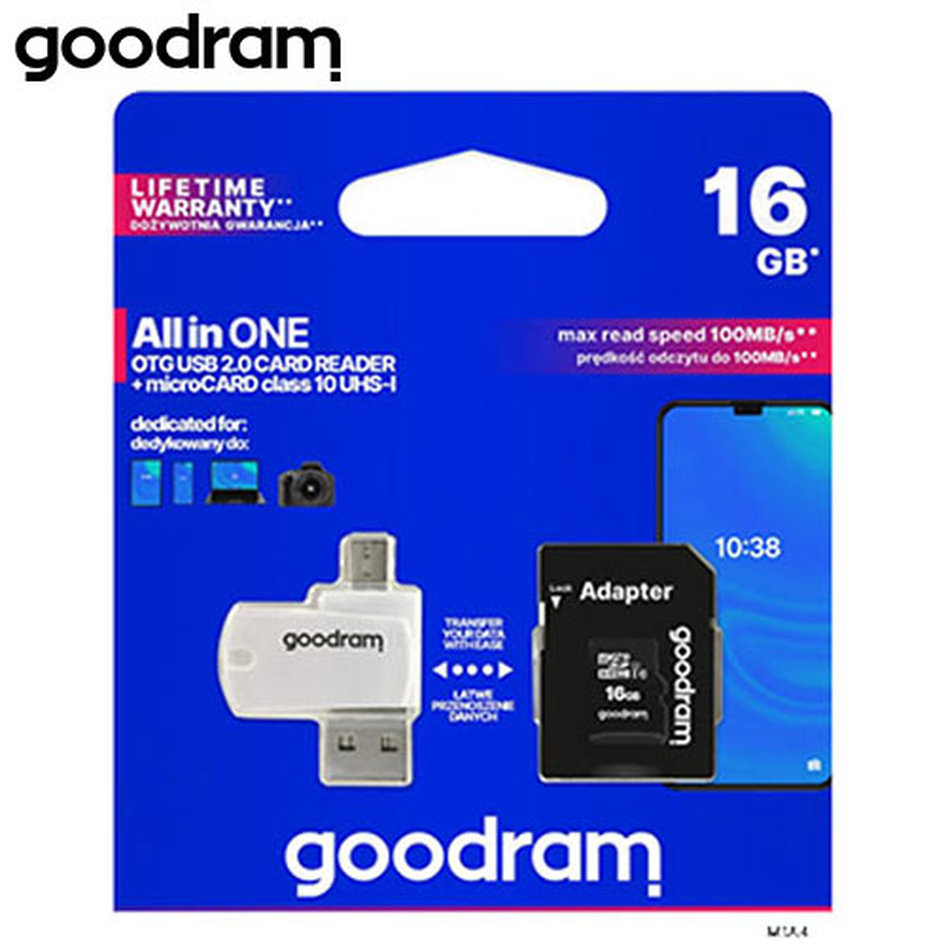 GOODRAM 4-IN-1 MICROSD 16GB+CARD READER+OTG+ADAPTER CL10 M1A4
