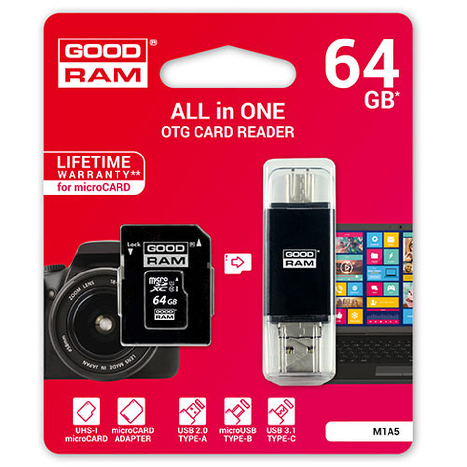 GOODRAM ALL IN ONE 64GB MICRO CARD CL10 UHS I +CARD READER TYPE C M1A5