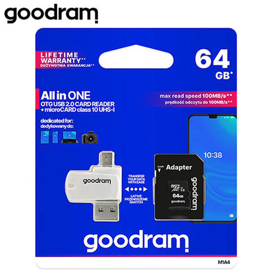 GOODRAM ALL IN ONE 64GB MICRO CARD CL10 UHS I +CARD READER M1A4