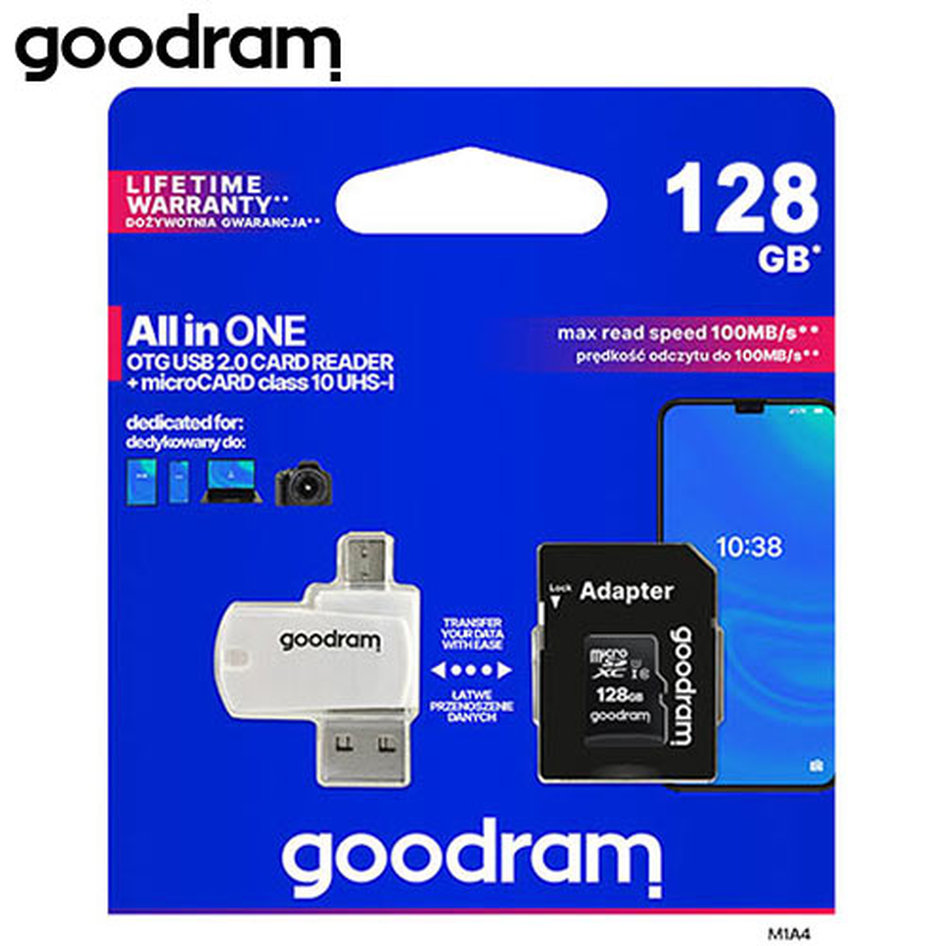 GOODRAM ALL IN ONE 128GB MICRO CARD CL10 UHS I +CARD READER M1A4