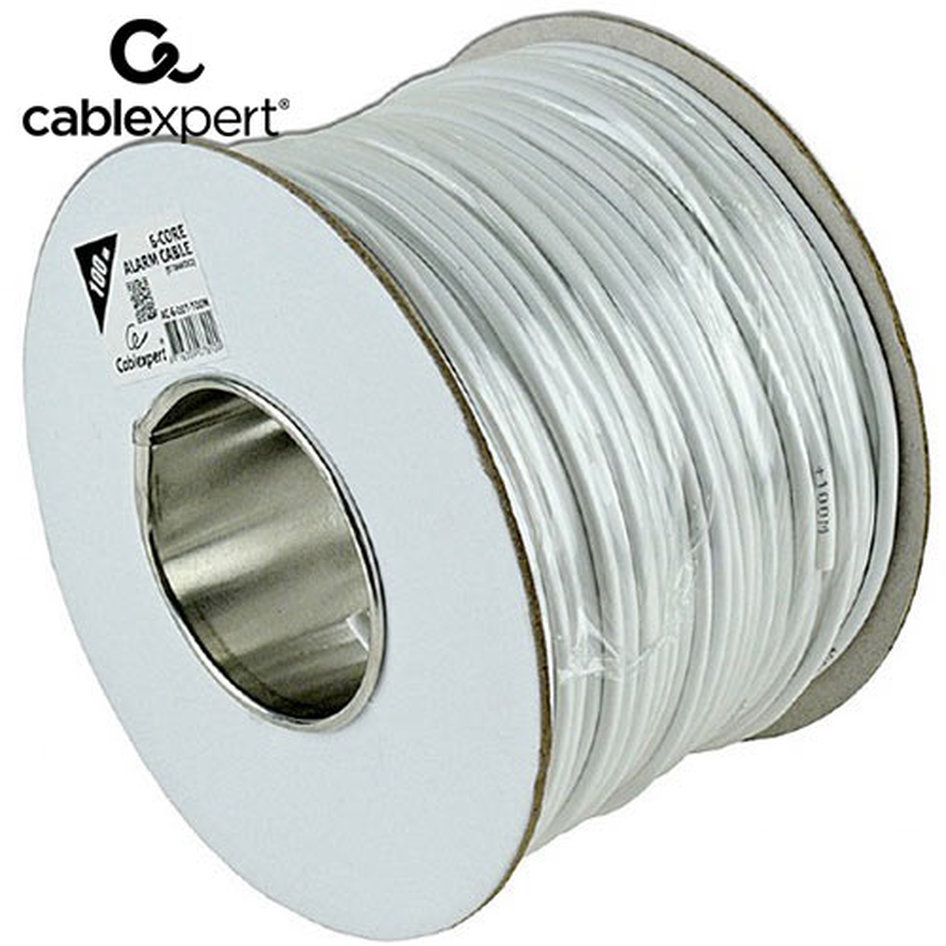 CABLEXPERT ALARM CABLE 100M ROLL WHITE SHIELDED
