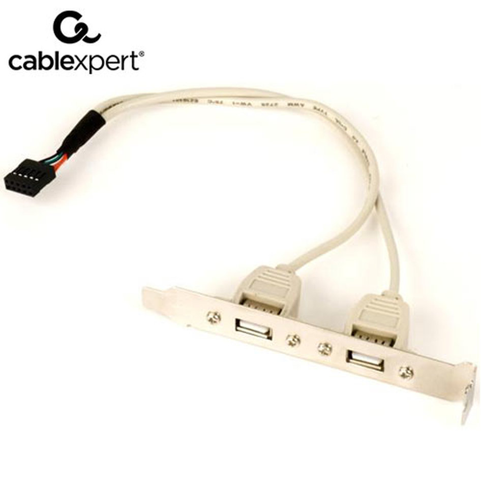 CABLEXPERT DUAL USB RECEPTACLES ON BRACKET