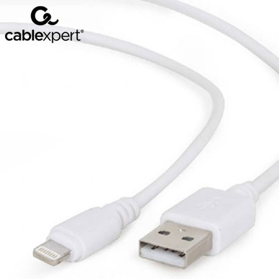 CABLEXPERT USB SYNC AND CHARGING CABLE LIGHTNING 2m WHITE