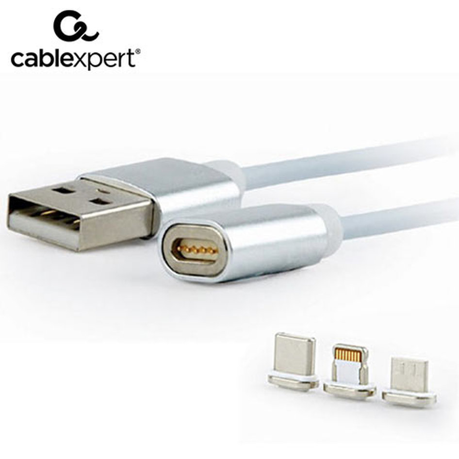 CABLEXPERT MAGNETIC 3 IN 1 USB CHARGING COMBO CABLE, SILVER, 1m