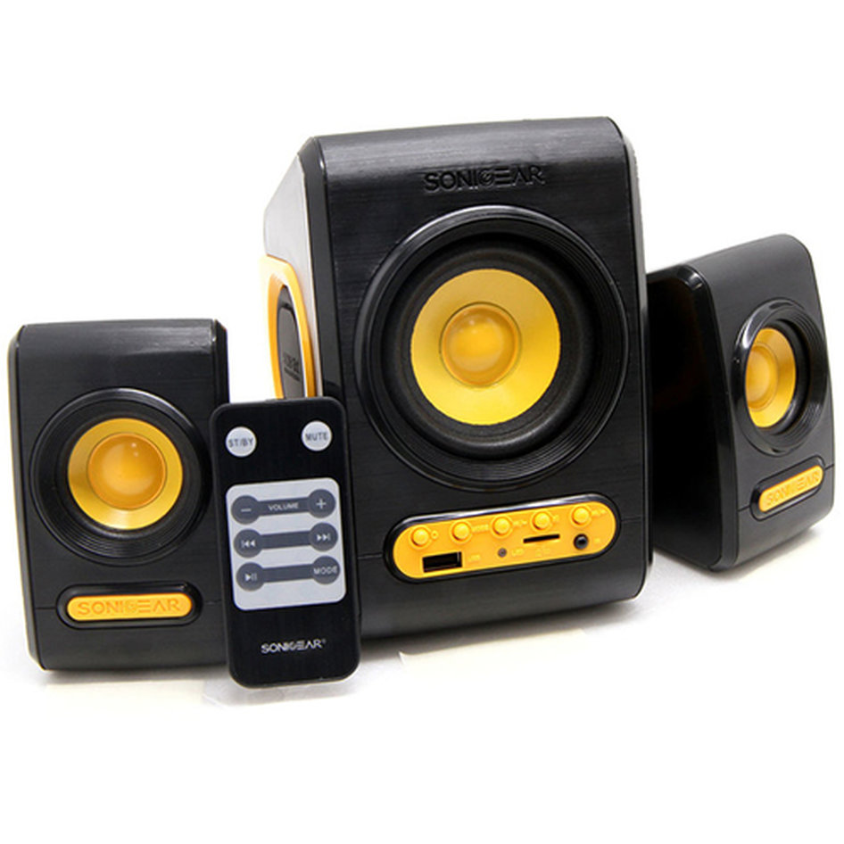 SONIC GEARS USB POWERED XTREME BASS SPEAKERS 2,1 BLACK SUNNY ORANGE
