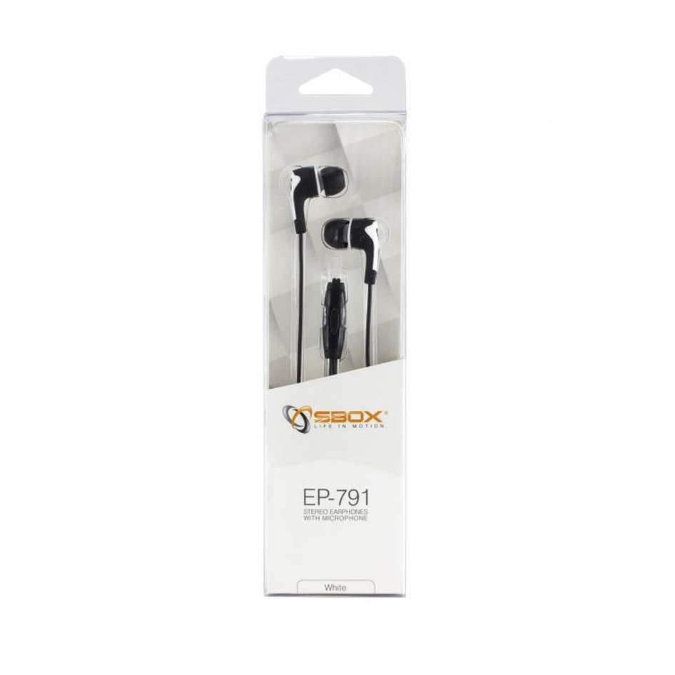 SBOX EARPHONES WITH MICROPHONE WHITE