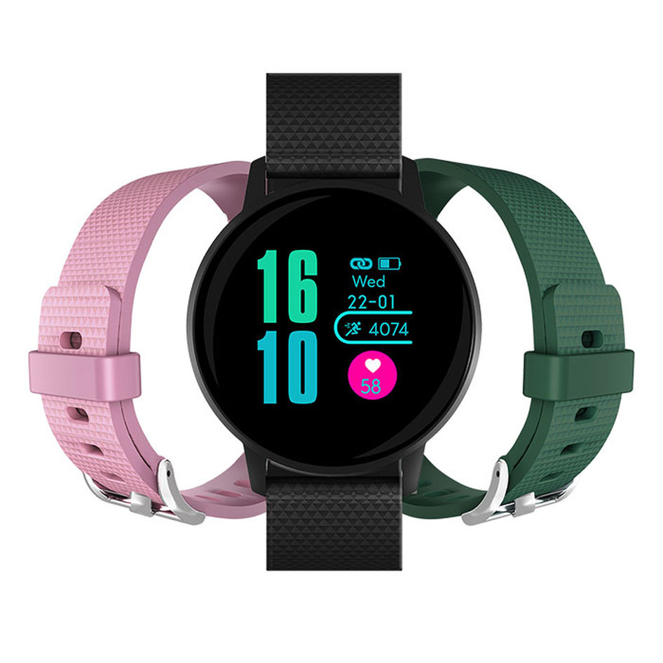 MLS Watch G3 Active Black 2 straps (Dark Green & Pink)