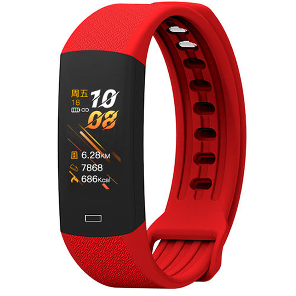 LAMTECH BODY TEMPERATURE DETECTION SMART WRISTBAND WITH HEART RATE MONITOR RED