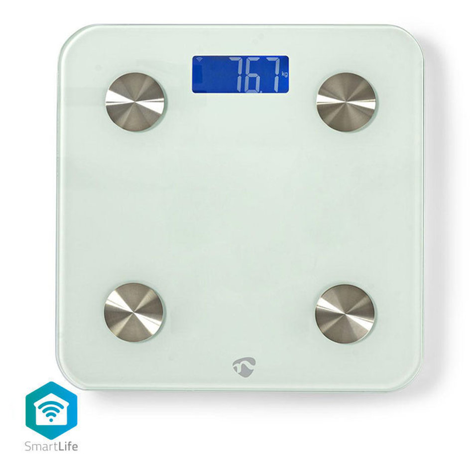 NEDIS WIFIHS10WT Wi-Fi Smart Personal Scales BMI, Fat, Water, Bones, Muscle, Pro