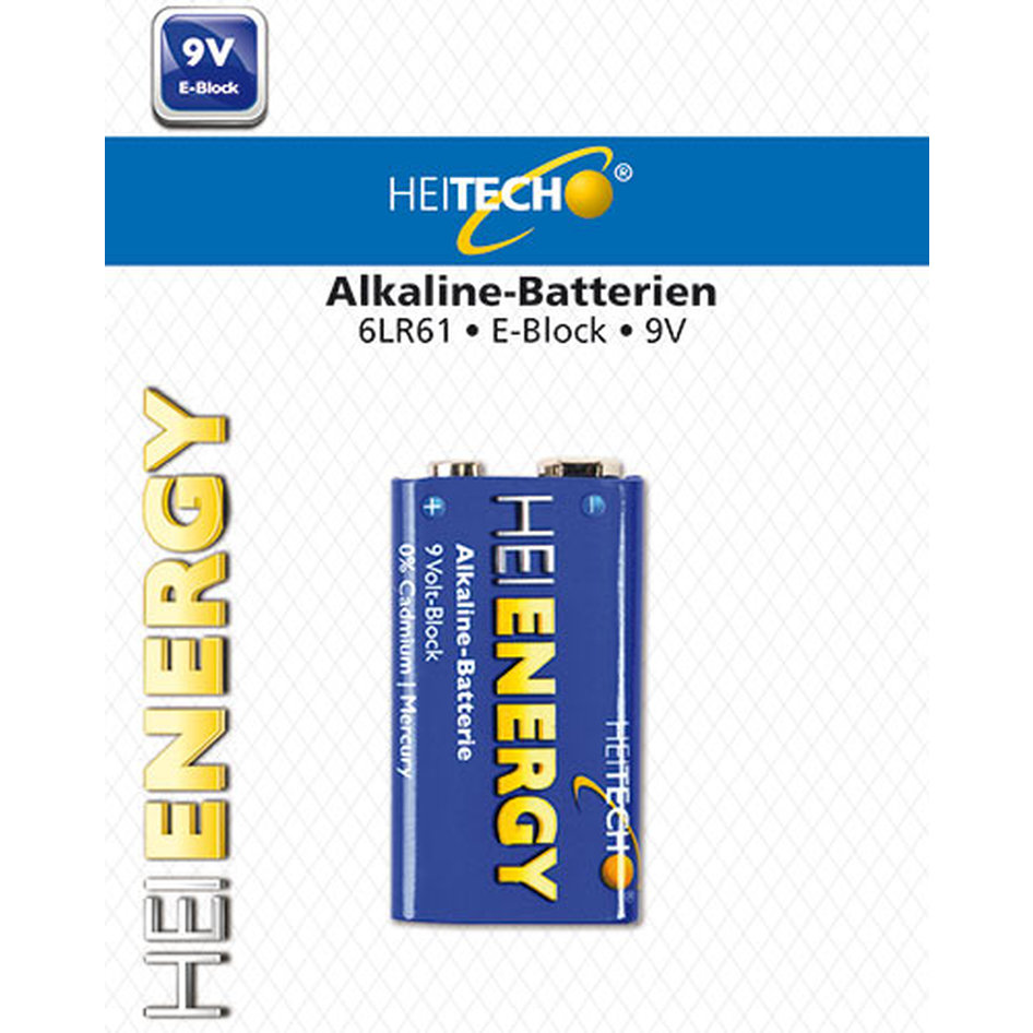 HEITECH ALKALINE BATTERY 1/PACK 9V E-BLOCK