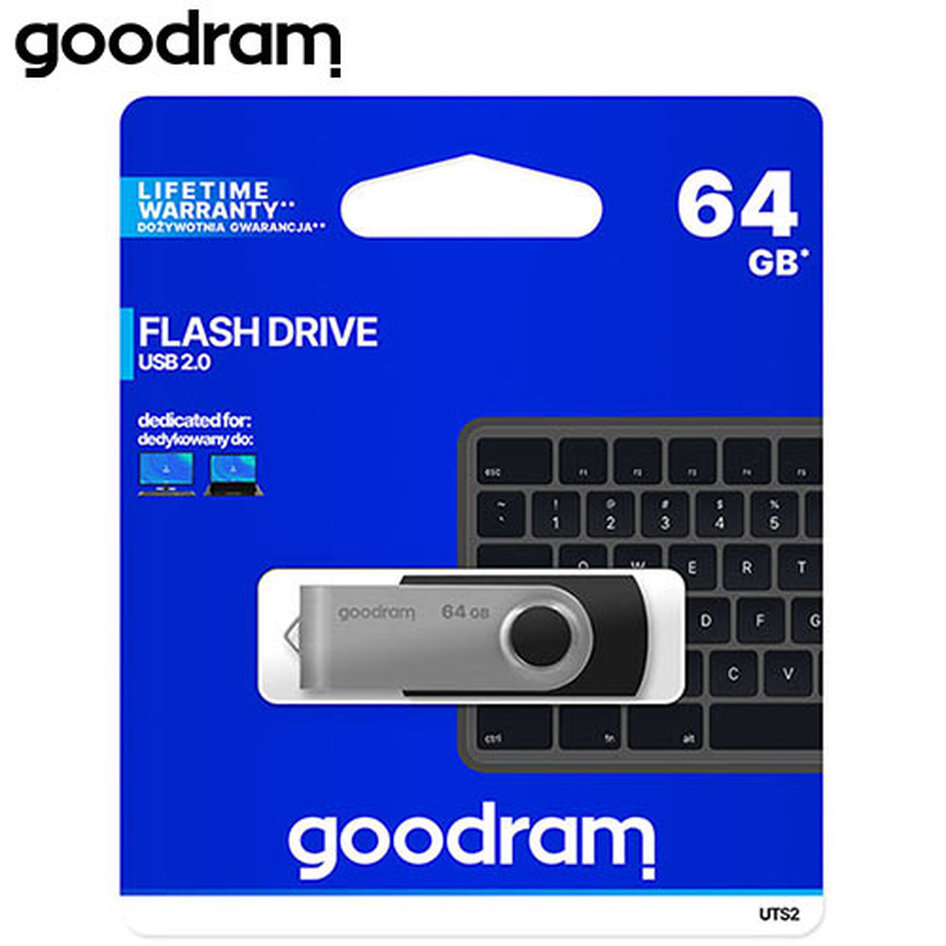 GOODRAM USB 2,0 FLASH DRIVE 64GB UTS2 BLACK