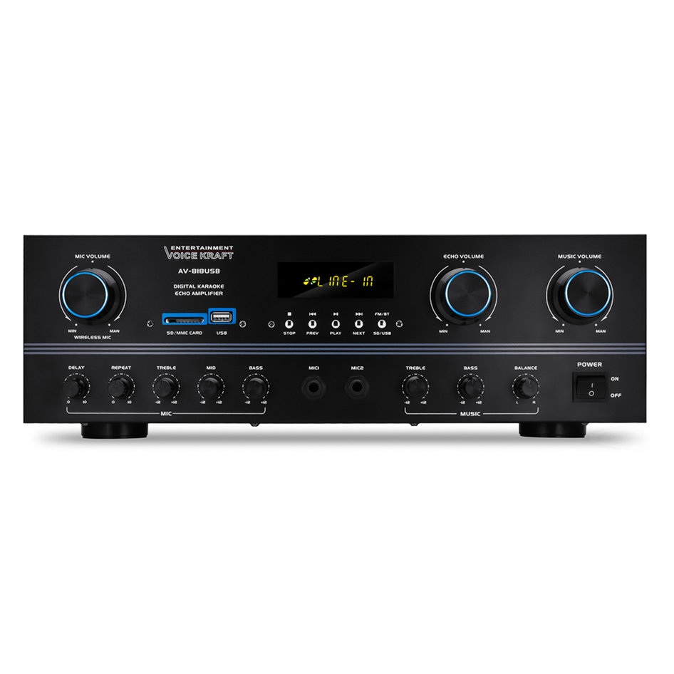 VOICE KRAFT ενισχυτής ηχείου AV-818USB, 200W RMS, bluetooth/USB/SD/FM