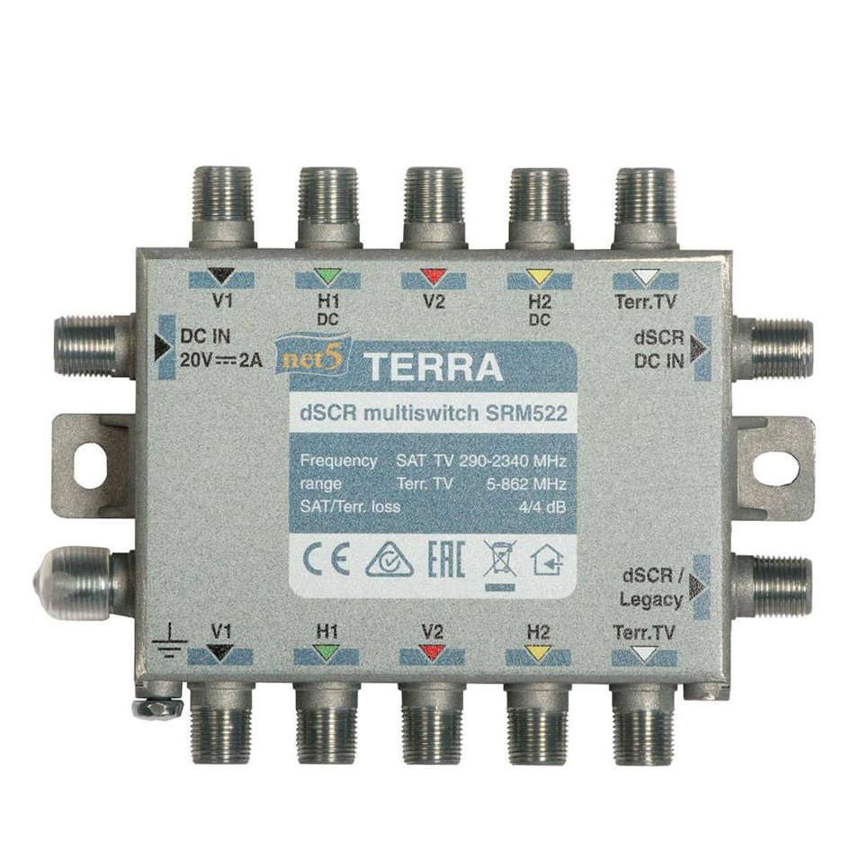 TERRA SRM522 Cascadable wideband single cable multiswitch, two outputs, passive terrestrial TV path