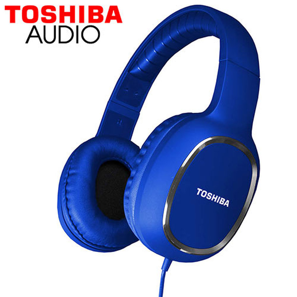 TOSHIBA AUDIO WIRED OVER EAR HEADPHONES BLUE